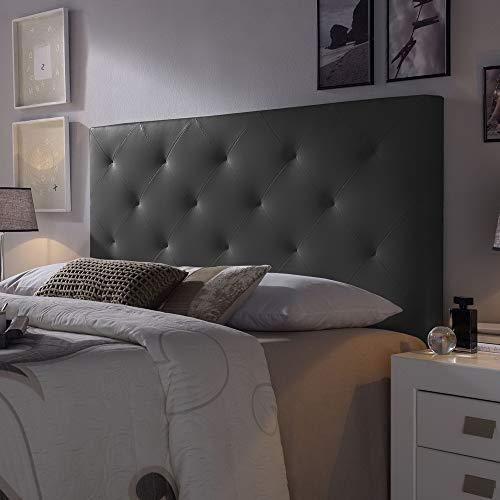 Cabecero tapizado Rombo 140X60 cm Negro, para Cama de 135 cm, Acolchado con Espuma, 8 cm de Grosor, Incluye herrajes para Colgar