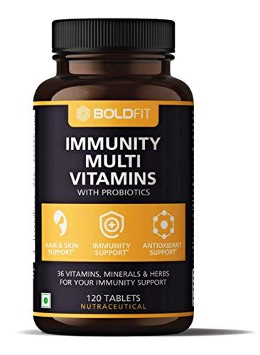 Boldfit Multivitamin For Men & Women (120 Veg Tablets) With Probiotics Vitamin C, E, Zinc For Immunity, Biotin, For Healthy Hair, Skin & Nails. Immunity Booster