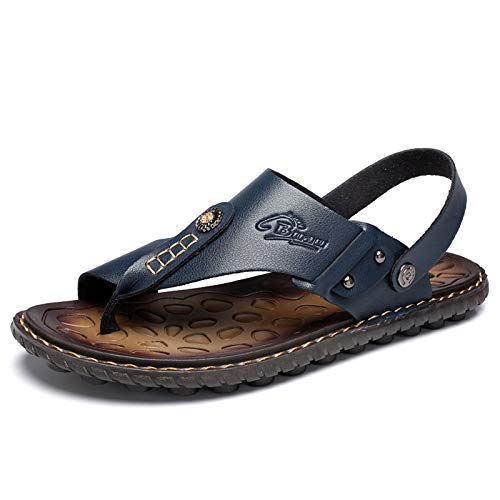 Herren Sandalen Flip Flops Für Herren Bunion Schuhe Mit Zehenring Casual Sommer Leder Für Orthopädische Bunion Corrector Schwarz,A,43