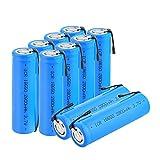 ZhanMazwj 3.7 V 2800 mAh 18650 batería de iones de litio, ICR 18650 baterías recargables con pestañas para faro 10 unids