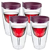 Southern Homewares Wine 2Go! Insulated Vino Double Wall Acrylic Wine Tumbler with Merlot Drink Through Lid, 16-Ounce, Pack of 4