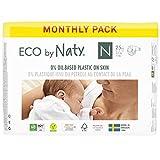 Eco by Naty 8178341, Pañal Ecológico Premium Hecho a Base de Fibras Vegetales, Talla Recién Nacido, 100 Pañales, - 4.5 kg