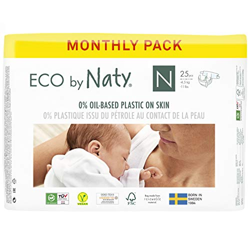Eco by Naty Baby Diapers, Newborn, 100 Ct, Plant-based with 0% Oil Plastic on Skin, One Month Supply