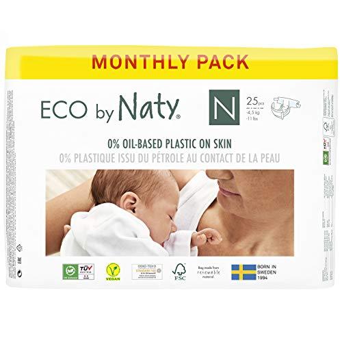 Eco by Naty, Taglia 0, 100 pannolini, -4.5kg, fornitura di UN MESE, Pannolino eco premium a base vegetale con lo 0% di plastica sulla pelle