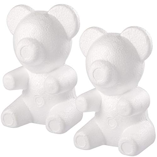 Amosfun Polystyrol Bär Schaum Bär Form für Kinder DIY Handwerk 2 Stück 12 * 13 * 20cm (Weiß)