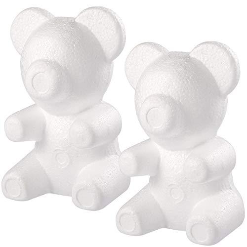 Amosfun Polystyrol Bär Schaum Bär Form für Kinder DIY Handwerk 2 Stück 20 * 30cm (Weiß)
