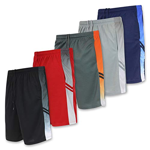 5 Pack: Big Boys Youth Clothing Knit Mesh Active Athletic Performance Basketball Soccer Lacrosse Tennis Exercise Summer Gym Golf Running Teen Shorts -Set 5- XS (4/5)