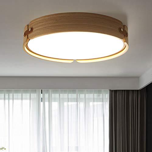 ZMH LED Deckenlampe Wohnzimmer Deckenleuchte Schlafzimmer Wohnzimmerlampe aus Holz Rund Ø42CM 4000K Neutralweiß 26W Badezimmer Kinderzimmer