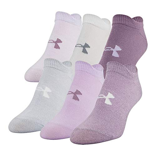 Under Armour Women's Essential 2.0 No Show Socks, 6-Pairs , Purple Assorted , Shoe Size: Womens 6-9