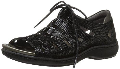 Aravon Women's Bromly Ghillie Flat Sandal, Black, 8