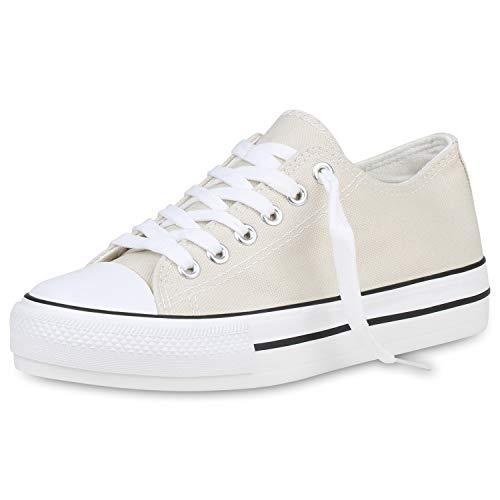 SCARPE VITA Damen Plateau Sneaker Basic Canvas Stoff Schuhe Schnürer Freizeit Turnschuhe Profilsohle Plateauschuhe 191442 Creme Weiss 37