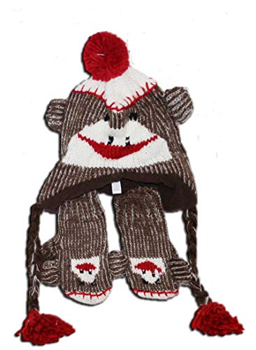 Toddler Size Sock Monkey Hat with Mittens (Red/brown, One Size)