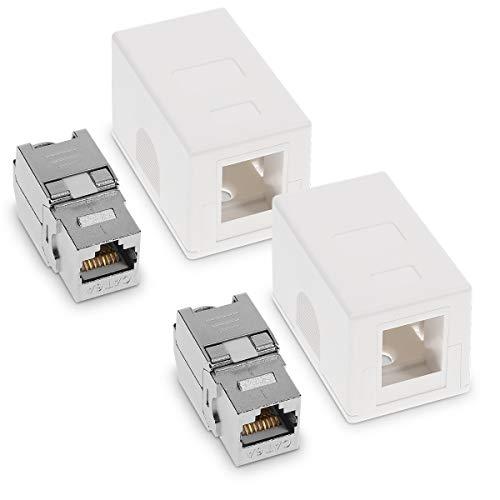 kwmobile 2X CAT 6A Aufputz Netzwerkdose inkl. 2X Keystone Module - 1 Port RJ45 Buchse 10 Gbit/s - Netzwerk LAN Aufputzdose Internetdose Set in Weiß