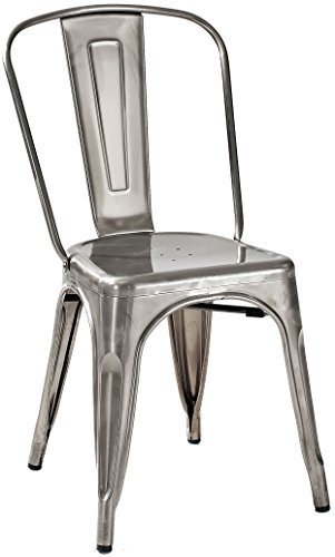 Hot Sale Crosley Furniture Amelia Metal Cafe Chair in Galvanized (set of 2)