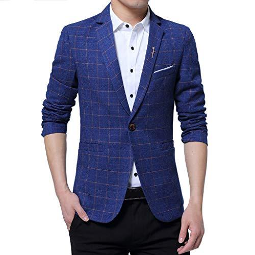 WHSHINE Herren Sakko Sweatjacke Slim Fit Blazer Anzug Casual Jacke Modisch Kariert Print Freizeit Outwear Elegante Männer Business Smokingjacken