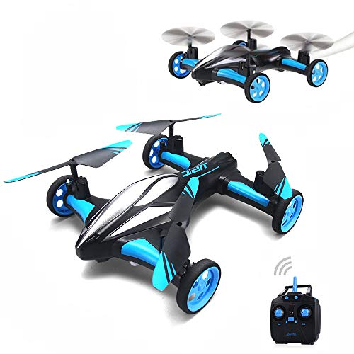 RC Drone JJRC H23 2.4g 4CH 6-Axis Gyro air-Ground Flying car Quadcopter 3D Helicopter flip one-Key Headless Return Mode for Boys Kids Children,Blue