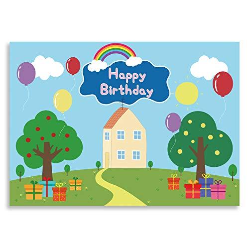 Seasonwood Fondo de fiesta temático de feliz cumpleaños de 2,1 x 1,5 m para bebés y niños con dibujos animados azul fondo de animal, banner para decoración de mesa, suministros para cabina de fotos