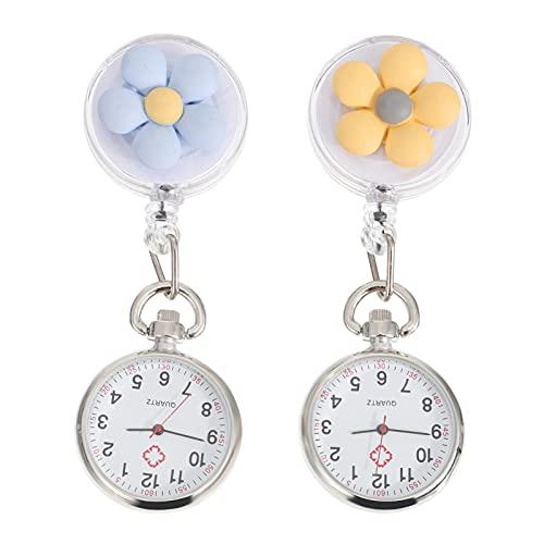 ifundom Reloj de bolsillo retráctil para enfermera, 2 unidades, con clip
