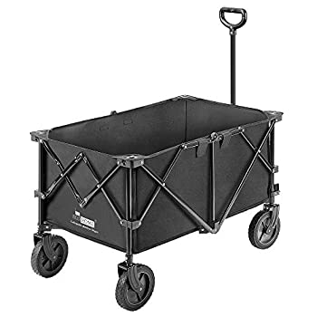 VIVOHOME Heavy Duty 176 Lbs Capacity Collapsible Folding Outdoor Utility Wagon Patio Garden Cart with 2 Drink Holders and Wheels for Camping and Picnic
