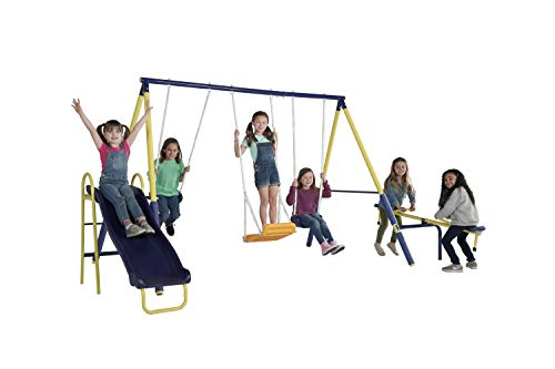 Sportspower Palmview Swing Set - Outdoor Heavy-Duty Metal Playset for Kids