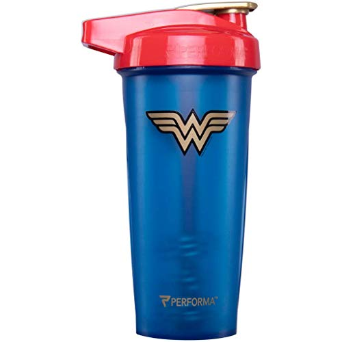 Performa Justice League & DC Comic - Leak Free Protein Shaker Bottle with Actionrod Mixing Technology for All Your Protein Needs! Shatter Resistant & Dishwasher Safe (28oz) (Wonder Woman ACTIV)