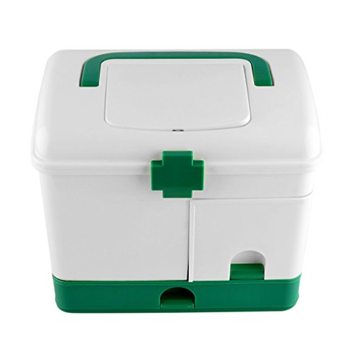 Poxl Maletín médico con Compartimento de Almacenamiento, Caja Multiusos de Farmacia, Caja de Medicina de plástico para casa, Viaje, Camping, plástico, Verde, 22 * 14.5 * 20.3cm