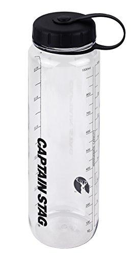 キャプテンスタッグ(CAPTAIN STAG) 水筒 ボトル スポーツボトル ウォーターボトル 1000ml 直飲み ライス目盛り付き 6合 ブラック UE-3394