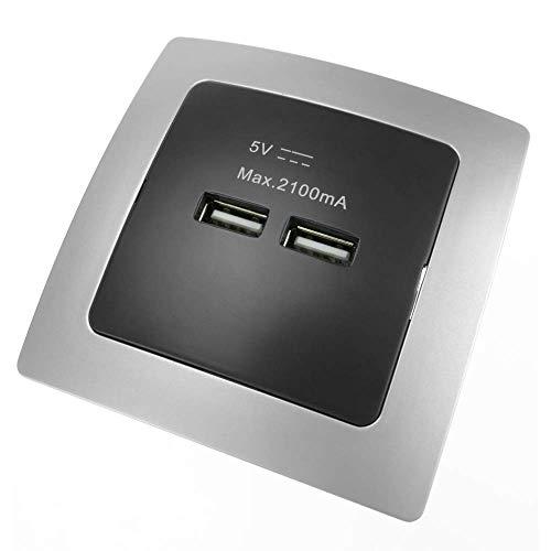 BeMatik - Stopcontact 2 x USB A vrouwelijk 80x80mm voor verzonken zilver en zwart