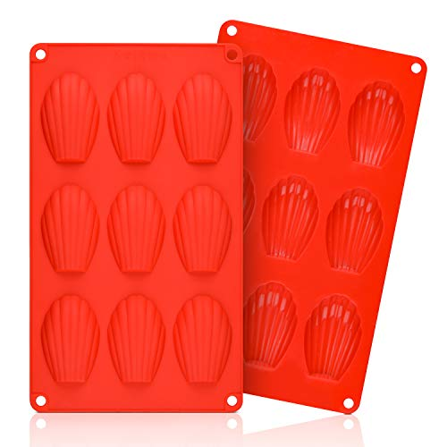 Silicone Madeleine Pans - 9 Cups Madeleine Mold for Small Cake, Chocolate, Cookies Pack of 2