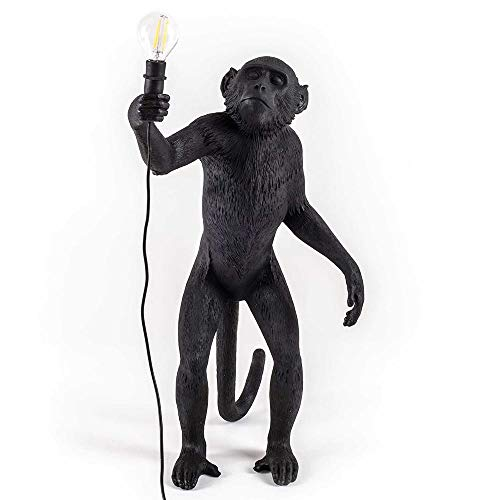 Lámpara de araña de mono de oro negro de resina Iluminación de resina Lámpara de cuerda de cáñamo loft Luces Bar Cafe Incluye luces E27 (Model 2)