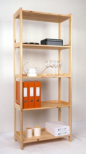 Holzregal 166 x 68 x 34 cm Kiefer massiv, 5 Böden, Marke: Szagato (Standregal, Küchenregal, Bücheregal, Wohnregal für Kinderzimmer Echtholz-Regal Kieferregal natur)