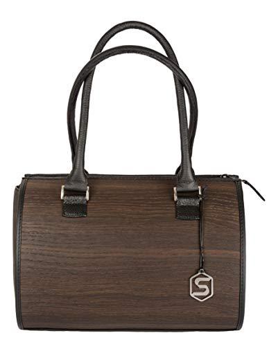 Sebastian Sturm Bolso de mano CARMEN   Fabricado con madera auténtica tipo roble ahumado o amazaque y cuero de ternera   Mujer Cartera Marrón Negro   By