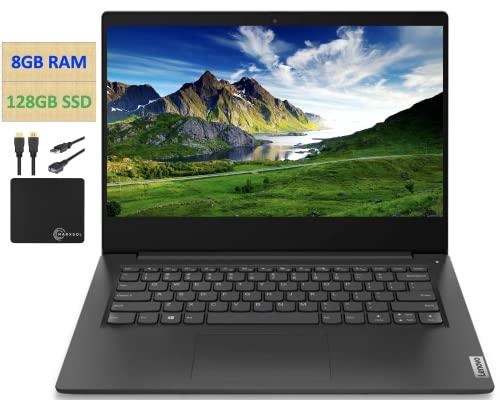 "2021 Flagship Lenovo Ideapad 3 Laptop, 14"" HD Display, Intel Pentium Gold 6405U 2.4 GHz, 8GB DDR4 RAM, 128GB NVMe M.2 SSD, Bluetooth 5.0, Webcam, WiFi, HDMI, Windows 10 S, Black + w/Marxsol Cables"