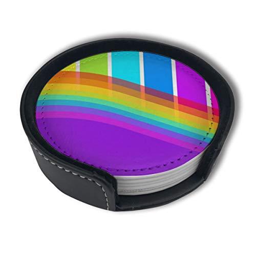 BJAMAJ Rainbow Piano strepen Premium PU lederen onderzetters, drinken ronde onderzetters met houder Sets, Geschikt voor thuis en keuken (6PCS)