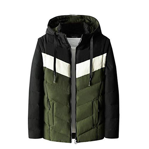 Aiserkly - Chaqueta acolchada de algodón para hombre, de fácil cuidado, tamaño grande, color negro, verde y rojo Verde verde XXL