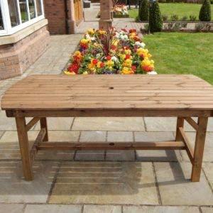 STAFFORDSHIRE GARDEN FURNITURE   Gartentisch aus Holz   Premium 182 cm Tisch   Lieferung komplett montiert Möbel   passend für bis zu sechs Personen