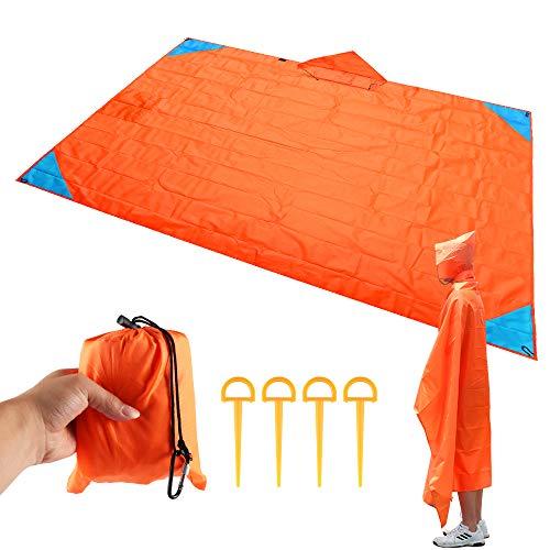 ABEDOE Strand-Picknick-Decke, Faltbare Sand-Beweis-kompakte Taschen-Decke im Freien wasserdichte Matte mit 4 Zelt-Stöcken, die Reise-kampierendes Festival und das Wandern wandern (Orange)