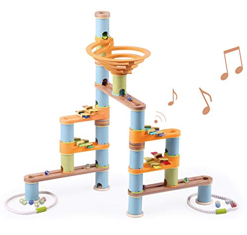 Fat Brain Toys 127 pc + Music Bamboo Builder Marble Run