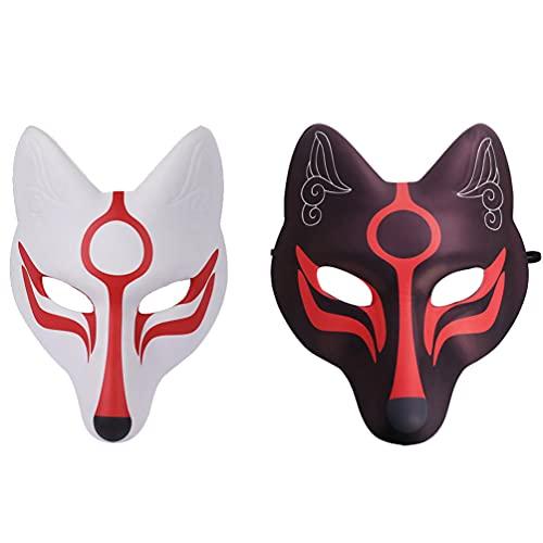 PRETYZOOM 2 Piezas de Máscaras de Kabuki Kitsune de Japonés para Mujeres Y Niños Disfraces de Halloween Prop para (Y)