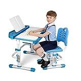 SIMBR Kids Desk and Chair Set, Height Adjustable Child Desk Ergonomic Student Study Desk and Chair Set with Large Storage Drawer, Bookstand, 55°Tilted Desktop, Metal Hook for Boys Girls