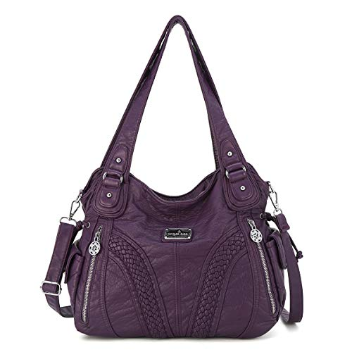Angelkiss Women Top Handle Satchel Handbags Shoulder Bag Messenger Tote Washed Leather Purses Bag (PURPLE) …