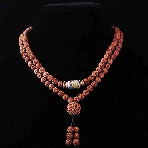 ZHIRCEKE 108 Beads Pulsera Tibetano Buddhist Buda Natural Bodhi Rudraksha Oración Mala Collar Joyería