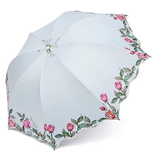 LYJZH Regenschirm Taschenschirm, kompakter tragbarer,geeignet für Männer und Frauen Sonnenschirm kreative Blume dreifach gefaltet colour2 95cm