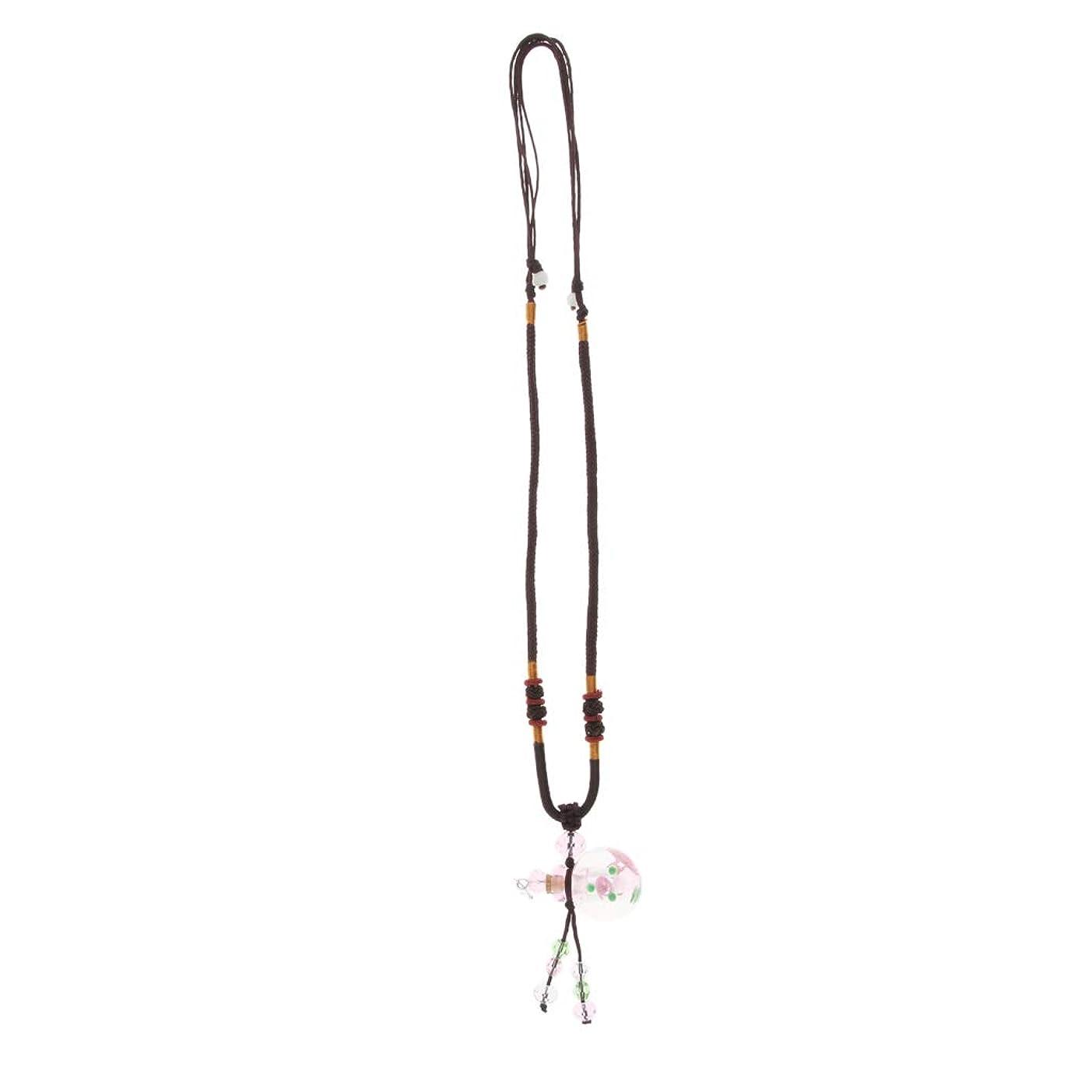 部定説いわゆるPerfeclan 香水ネックレス ミニ グラスロケット ネックレス 香水ディフューザー 4色選べ - ピンク