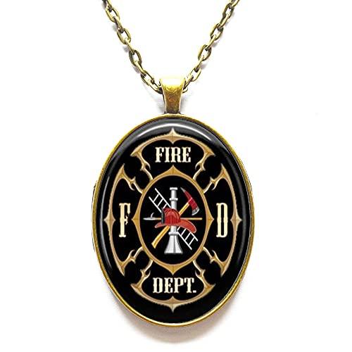Collar con colgante de Fire Dept, bombero, regalo de bombero, regalo para cooperador, collar con colgante de arte, joyería de bomberos, N338