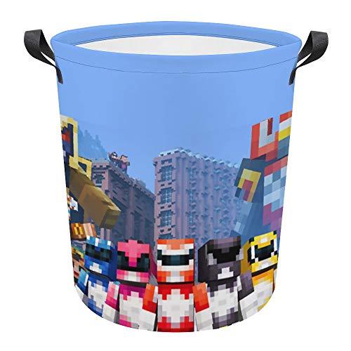 M-inecraft - Cesta de lavandería grande con cordón impermeable y resistente a la humedad de gran capacidad redonda para la colada