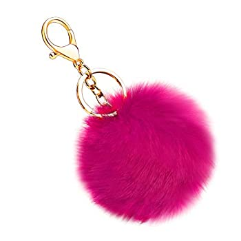 Soleebee Soft Artificial Rabbit Fur Keychain Plush Ball Key Ring Cute Pom Pom Bag Charm for Women Girls  Hot Pink