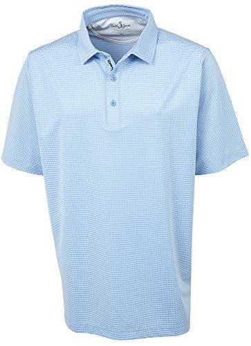 Bobby Jones Golf Apparel - Short Sleeve XH2O Grid Jacquard Performance Polo Shirt for Men Sky Blue