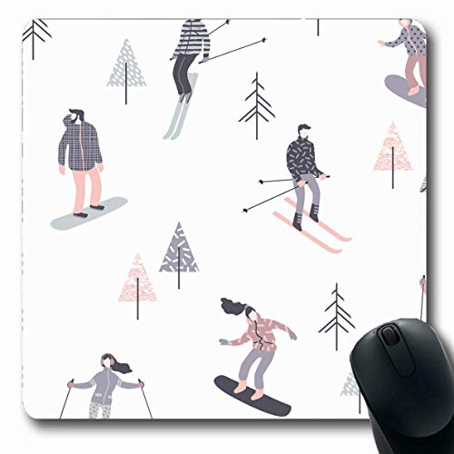 Alfombrilla de ratón Oblonga Diversión Esquiadores Snowboarders Deportes Hombres Patrón Personas Copos de nieve felices Estilo de vida activo Descanso Personaje Alfombrilla de goma antideslizante para