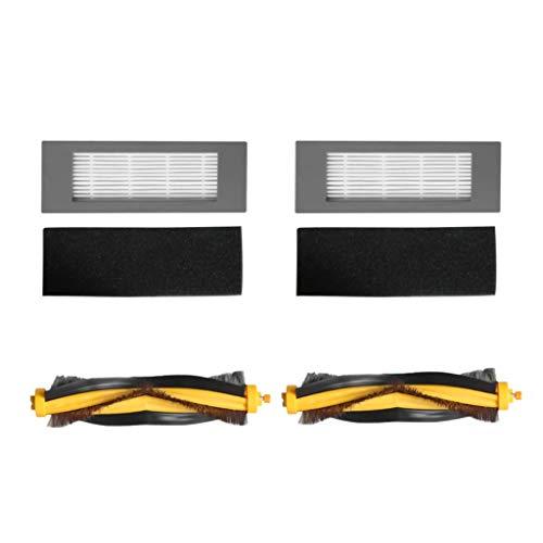 Alecony 2 sets of filters + 2 sets of rolling brushes Kompatibel mit ECOVACS DEEBOT OZMO 610,Kehrmaschinen Ersatzteile Borstenbürstenfilter Kehrroboter Zubehör